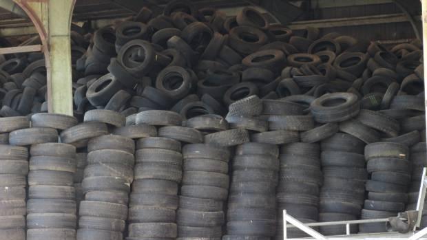 Used tyres stockpiled at a Frankton property in Hamilton.
