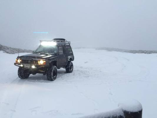 Manganui Ski Area's plateau car park on Mt Taranaki was coated with snow from Monday's wintry blast.