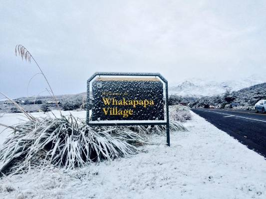People at Whakapapa Village awoke to a winter wonderland on Tuesday morning after an early season wintry blast.
