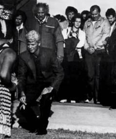 David Bowie is accepted onto Takapuwahia Marae in Porirua.