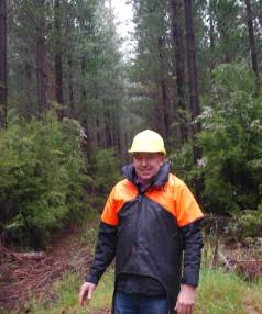 Philip Woodward, of Merrill and Ring, at Manuka Island Forest in Northbank.