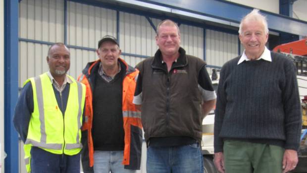 Iron Aid organisers from left orchard worker Fredrick Ron, Waipopo Orchards' Danny Bennett, Canterbury Longrun manager ...