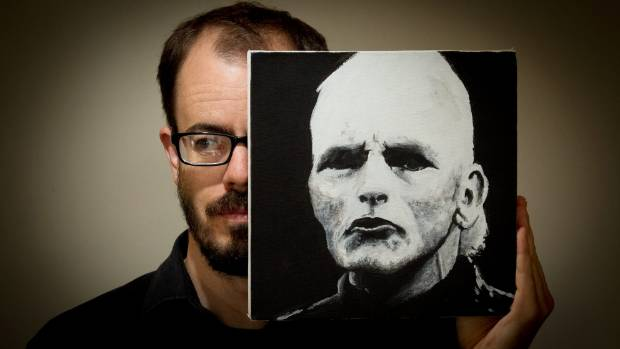 Josh Drummond with Horrible Painting of Michael Laws. The work became a minor sensation on TradeMe, after Drummond put ...