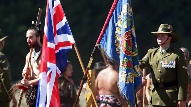 Warriors stand side by side at the the 150th commemoration of the Battle of Oraakau, near Kihikihi, in 2014. It was seen ...