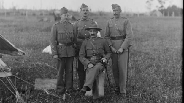 Lieutenant Colonel William Malone, seated, and three officers from the Taranaki Volunteers in about 1911.