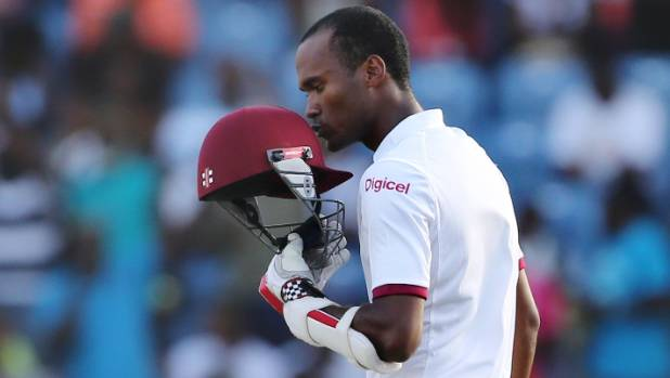 West Indies batsman Kraigg Brathwaite celebrates his century against England in Grenada.