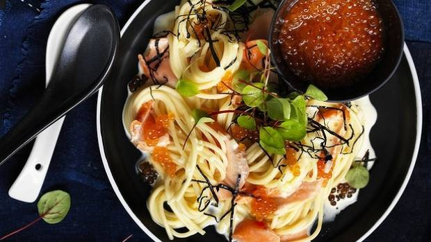Japanese salmon cream pasta recipe