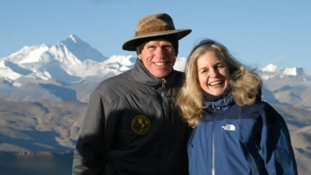 Peter Hillary with wife Yvonne Ooeman on an earlier trip to Tibet. Everest is behind them.