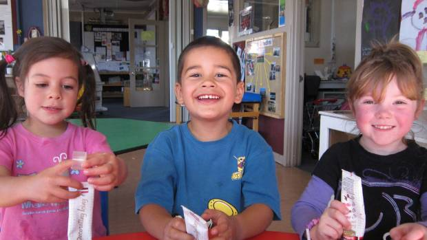 From left, Sophie Mason, Connor Rickard and Azalia from Redwoodtown Kindergarten in Blenheim, hone their baking skills ...