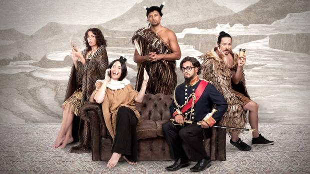 Find Me a Maori Bride cast L-R; Amanda Billing, Siobhan Marshall, Te Kohe Tuhaka, Matariki Whatarau and Cohen Holloway.