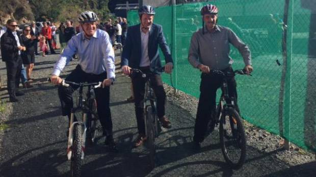 Prime Minister John Key, Green Party co-leader Russel Norman and Far North Mayor John Carter at the announcement of $3 ...