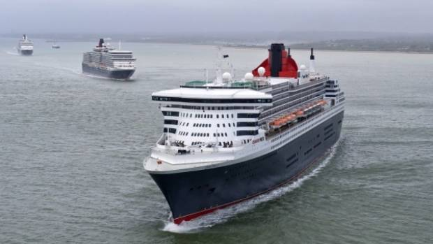 Queen mary 2 queen elizabeth queen victoria cruise ships meet in cunards three queens depart southampton marking 175 years on may 3 2015 m4hsunfo