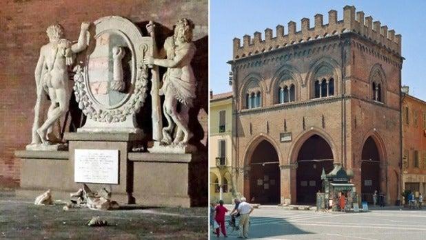 The broken statue (L)  in the Loggia dei Militi palace (R) in Cremona, Italy.