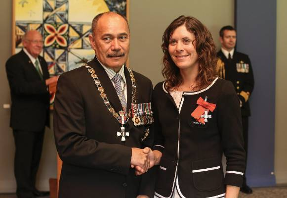 Ms Jo Aleh received the insignia of a member of the New Zealand order of merit for services to sailing from The ...