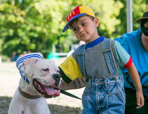 Wusif Rashedi, 4, and and Roxy Heart. Is that what a dog smiling looks like?