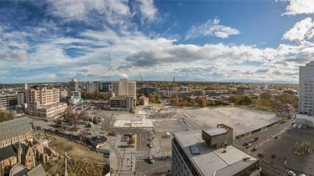 Cathedral Square this week. This panorama was created from four photos taken and stitched together by John ...