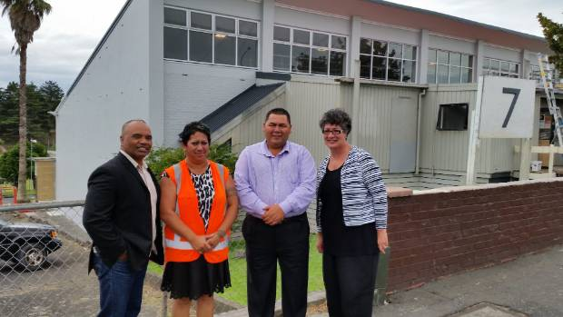 From left, Mangere-Otahuhu Local Board member Walter Togiamua, Centre Project Manager Mereana Hona, Chairman of Te Roopu ...