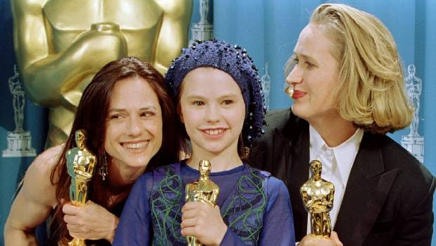 Actress Holly Hunter, pictured here with Anna Paquin and director Jane Campion, was propelled to fame with 1993's The Piano.