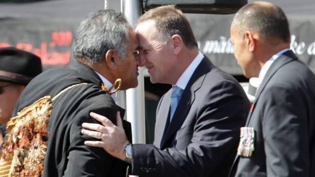 The Maori Party president, Tuku Morgan, greets former prime minister John Key. Morgan is a close adviser to Maori King ...