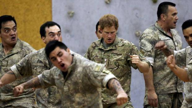 Prince Harry practises the haka at Linton Military Camp.