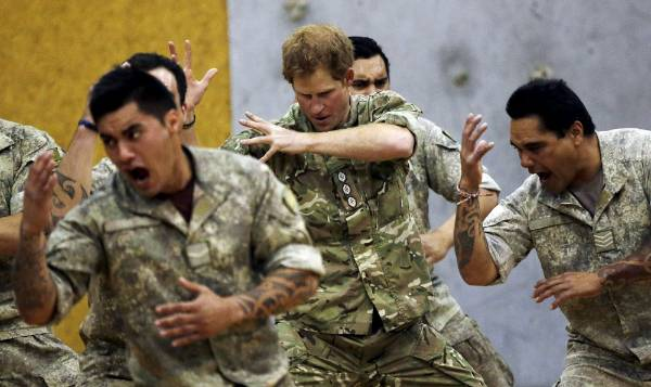 Prince Harry does the haka with soldiers at Linton Military Camp.