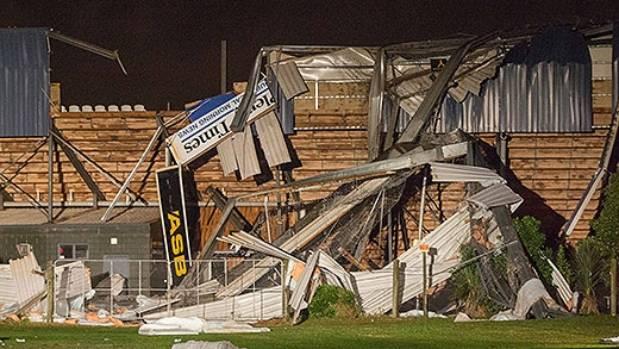 The tornado tore through ASB Bay Park stadium.