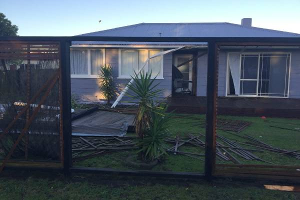 Damage from the tornado in Links Ave, Tauranga.