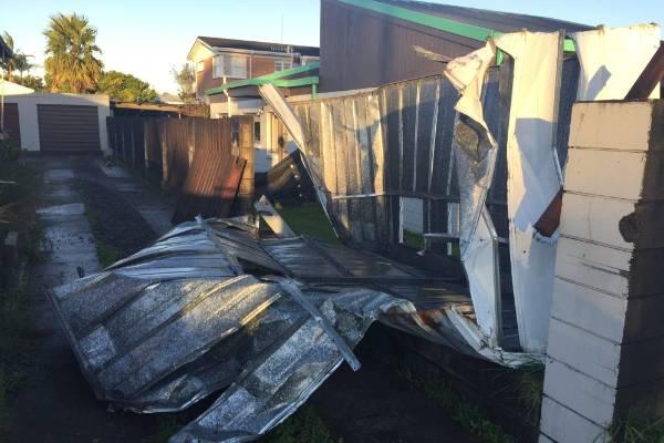 Damage from the tornado on Links Ave, Tauranga.