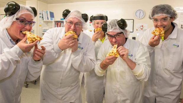 New plant staff enjoy a pizza made with fresh Clandeboye Mozzarella. From left, Zarea Laing, Quentin Cavanagh, Veronica ...