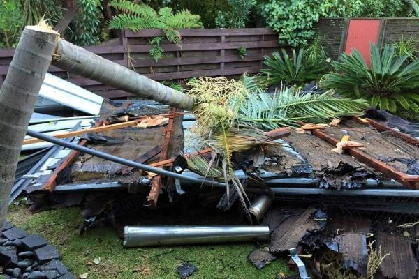 Jon Mayson's roof landed in his neighbour Murray Gough's property.