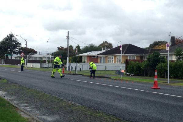 Police at the scene of an accident in Takanini where a 5-year-old boy was struck by a vehicle.