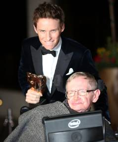 Eddie Redmayne and Professor Stephen Hawking attend the after party for the EE British Academy Film Awards at The ...