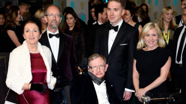 Stephen Hawking  and Jane Wilde Hawking attend the EE British Academy Film Awards at The Royal Opera House.
