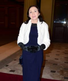 Jane Hawking attending a reception and dinner in support of Motor Neurone Disease Association at Buckingham Palace.