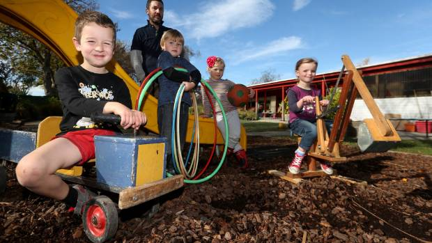 Springlands Kindergarten will get a new storage shed as a result of a Canterbury Community Trust grant. From left, Owen ...