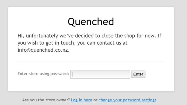 Wellington home delivery company Quenched took down its website after facing criticism from doctors.