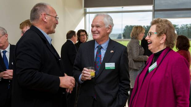 Ta Mark Solomon of Ngai Tahu, left, Donald Couch, ECan commissioner, and Dame Margaret Bazley, ECan chair, at Couch's ...