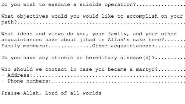 Al Qaeda recruits had to fill in application forms | Stuff.co.nz
