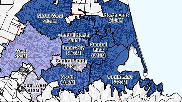 Scirt figures show about $800m spent on the three eastern areas to date.