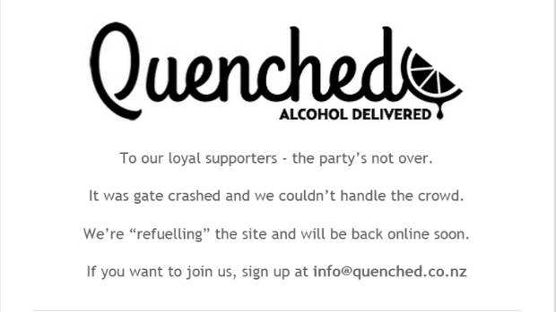 """Wellington online alcohol delivery service  Quenched is promising to be """"back online soon""""."""