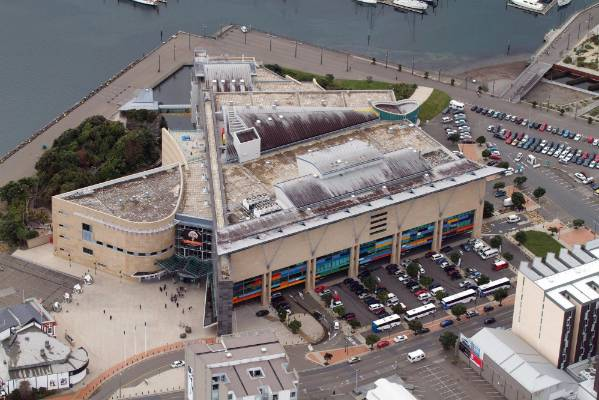Te Papa pictured from the air in 2010.