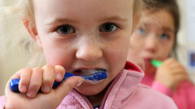 Mayfield Kindergarten pupil Ingrid Tucker, 4, brushes her teeth at the launch of the Marlborough Toothbrushing Project.