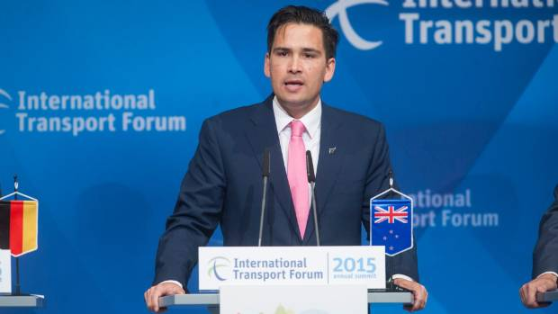 Transport Minister Simon Bridges addresses a press conference at the International Transport Forum Summit in Leipzig, ...