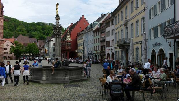People, not cars, dominate the streetscape in Freiburg, south-west Germany.
