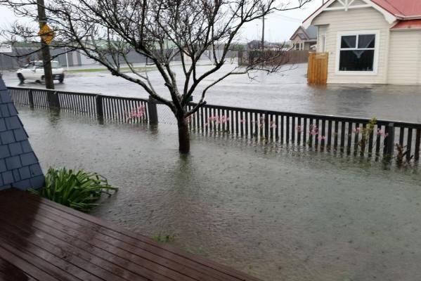 Flooded yards in Dunedin.