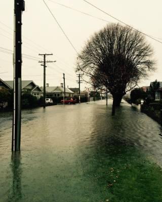 Flooding in Surrey Street in St. Clair, Dunedin.