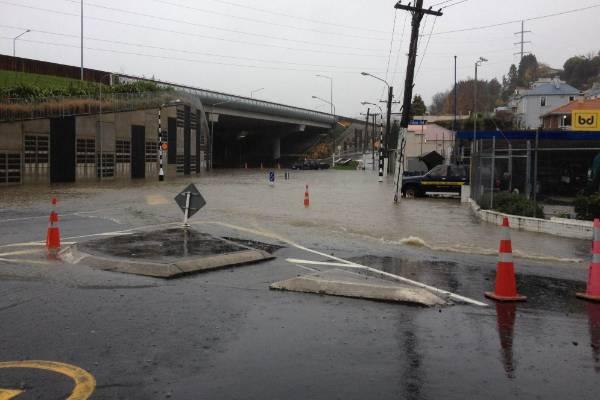 Flooding on South Street in Dunedin.