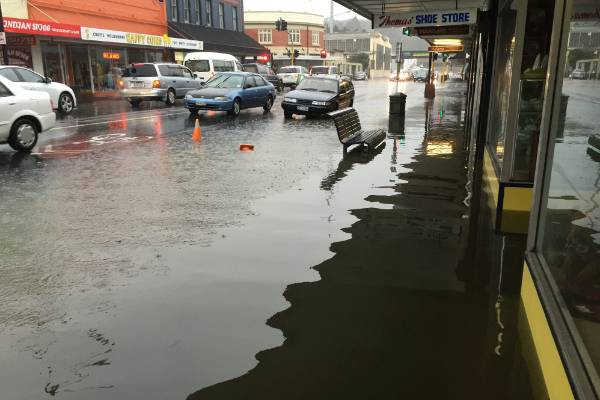 Flooding on King Edward St in South Dunedin