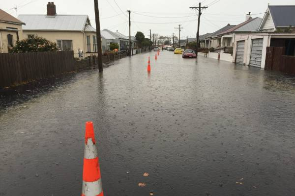 Street in St Kilda, Dunedin, are blocked off because of the flooding.