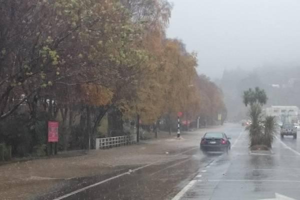 Flooding on Kaikorai Valley Road in Dunedin.